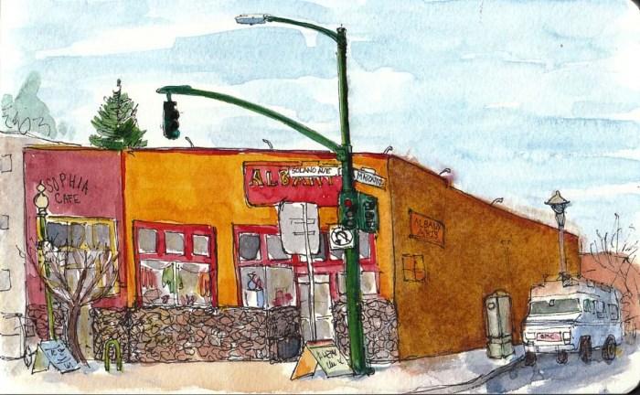 """Masonic & Solano, Albany, ink & watercolor, 5x8"""""""