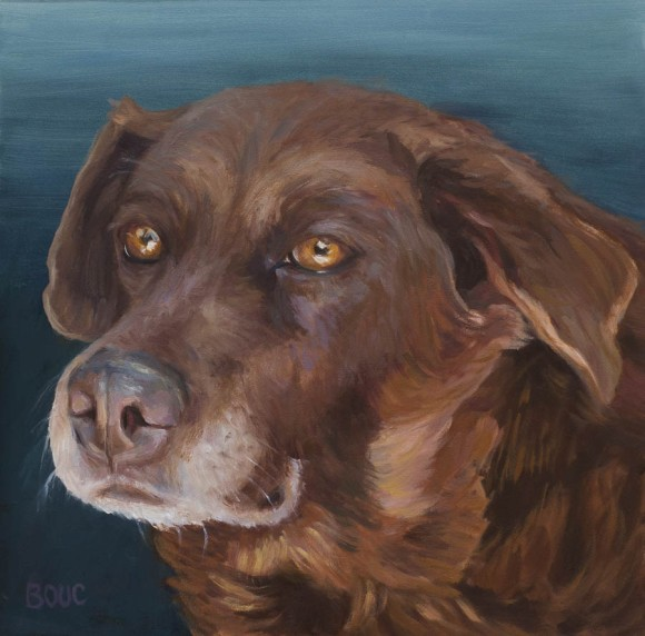 Cocoa: Dog Portrait, oil on panel, 8x8""