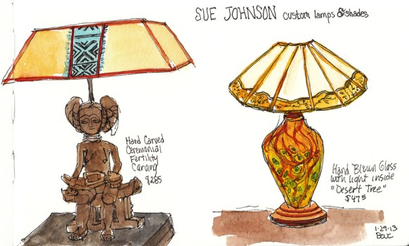 """Lamp sketch: Fertility and Glass, ink & watercolor 5x8"""""""