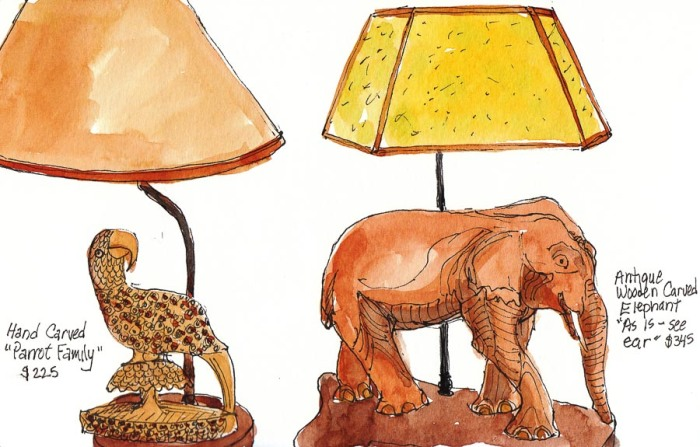 sketch of elephant and parrot lamps in ink & watercolor