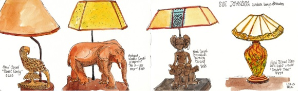 """Sketchbook spread with lamps, 5x16"""""""
