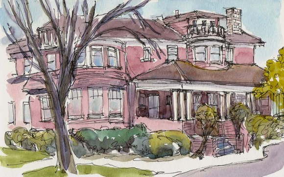 "Shadelands Ranch Museum, Penniman House, ink & watercolor, 5x8"""