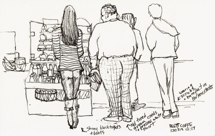 Waiting and Watching at Peets, ink, 5x8""