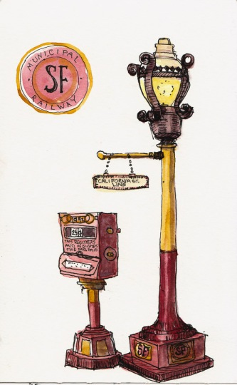 Sketch of Ticket Machine and Street Lamp, ink & watercolor, 8x5""