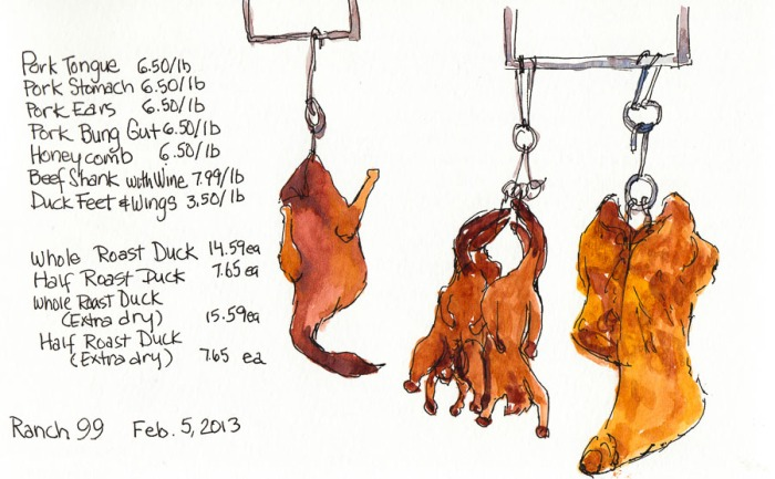 Poultry and Pork on the Hook at 99 Ranch Market, ink & watercolor, 5x8""