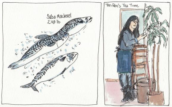 "Mackerel and Tea Lady, ink & watercolor, 5x8"""