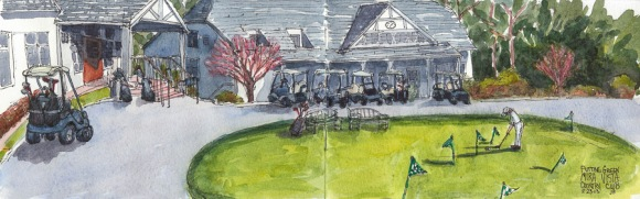 Mira Vista Country Club Putting Green and Carts, ink & watercolor, 5x16""