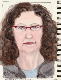 End of Journal Self-Portrait, ink & watercolor