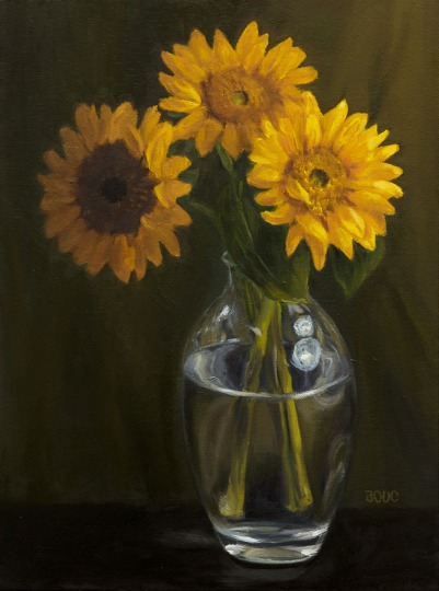 Sunflowers in Vase (#2), Oil painting on canvas, 16x12""