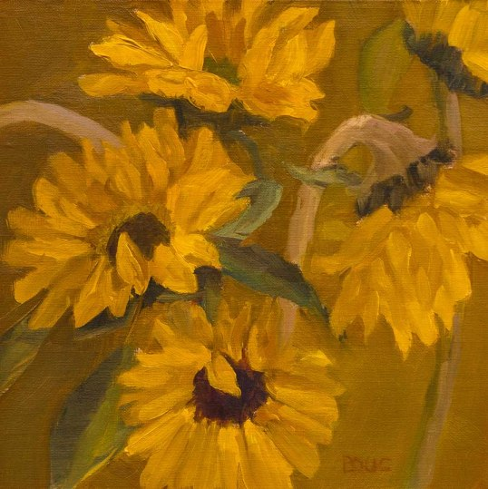 Sunflowers #4, oil painting on panel, 8x8""