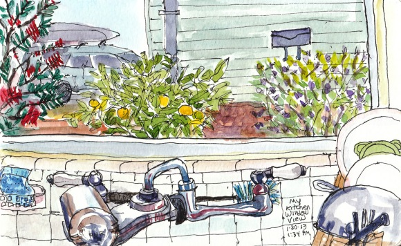 """The View From My Kitchen Sink, ink & watercolor, 5x8"""""""