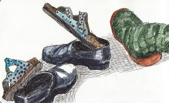 """Birkenstocks, Dansko Clogs and Fuzzy Slippers, ink & watercolor, 5x8"""""""