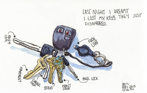 Dreamt I Lost My Keys So I Drew Them. Ink & watercolor, 5x8""