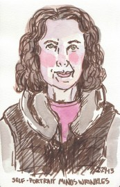"""End of Journal Self-Portrait, February 2013, Pitt brown Brush Pen and watercolor, 8x5"""""""
