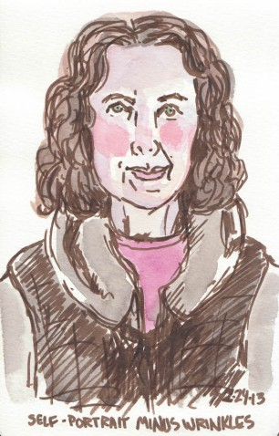 End of Journal Self-Portrait, February 2013, Pitt brown Brush Pen and watercolor, 8x5""