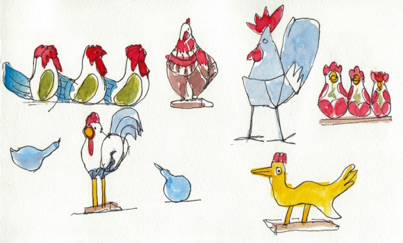 Sketch of Crazy Ceramic Chickens 2 at Poulet, ink & watercolor, 5x8""