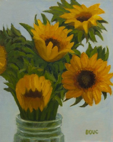 Sunflower #1, Oil painting on panel, 10x8""