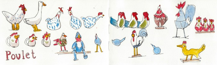 Poultry Panorama (2-page spread in my sketchbook).