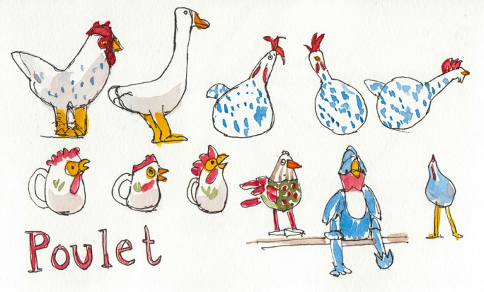 Sketch of Crazy Ceramic Chickens 1 at Poulet, ink & watercolor, 5x8""