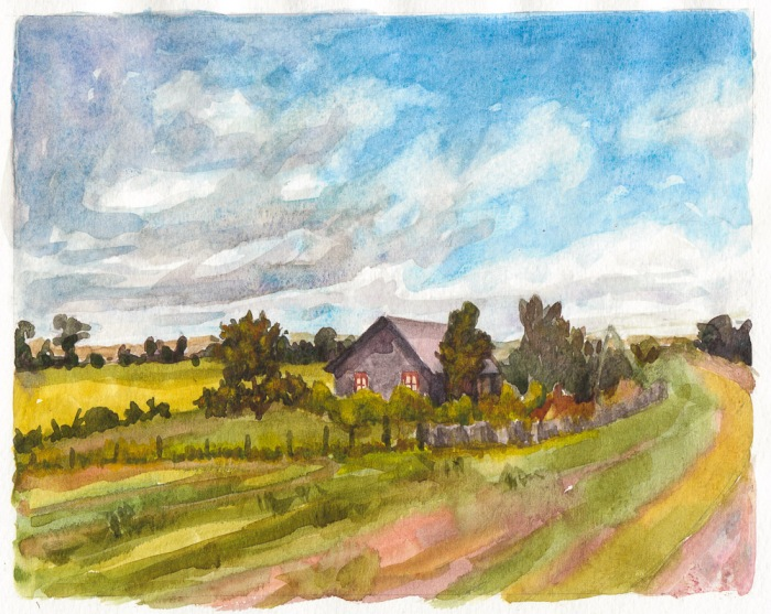 Virtual Paintout: Lithuania, watercolor in sketchbook, 8x11""