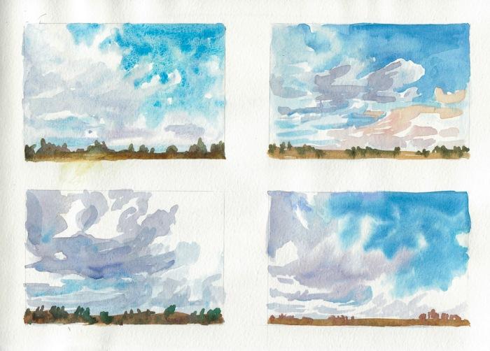 """Cloud Study for Lithuania Virtual Paintout, watercolor, 8x10"""""""
