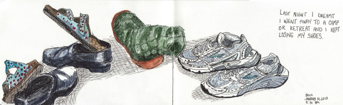 """Piled up Shoes and Slippers, ink & watercolor, 5x16"""""""