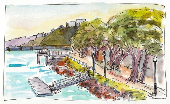 """The Park on the Bay by Craneway Pavillion, ink & watercolor, 5x8"""""""