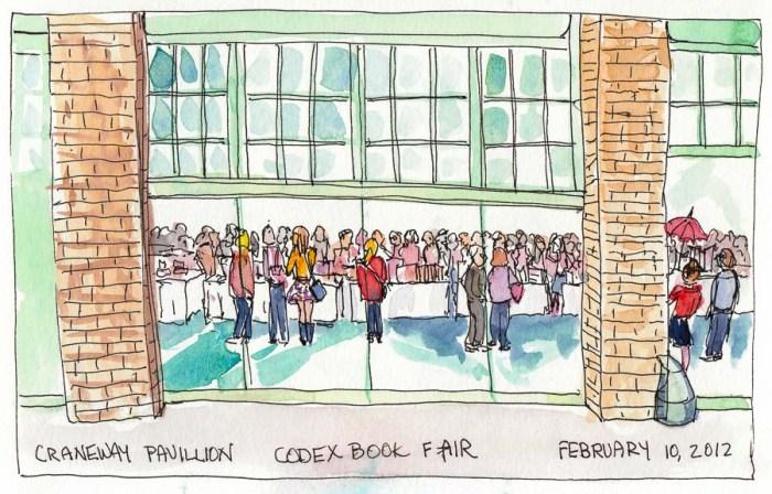 "Codex Book Fair inside Craneway Pavillion, ink & watercolor, 5x8"""