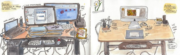 Before & After Sketches of my computer desk, ink & watercolor, 5x16""