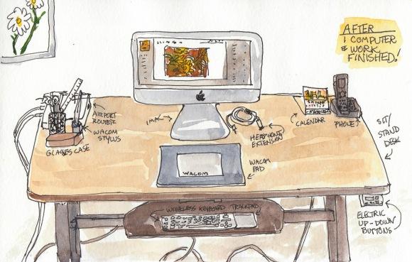 "Computer Desk After, ink & watercolor, 5x8"""