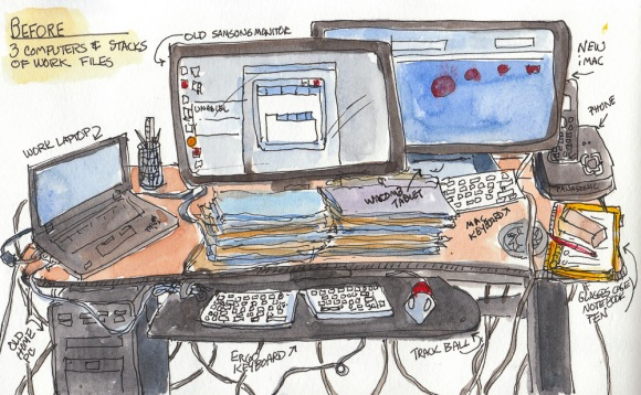 "Computer desk: Before, ink & watercolor, 5x8"""
