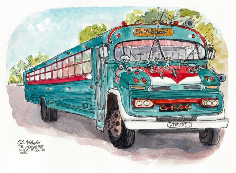 El Volado the Mexican Bus, ink & watercolor, 8x11""