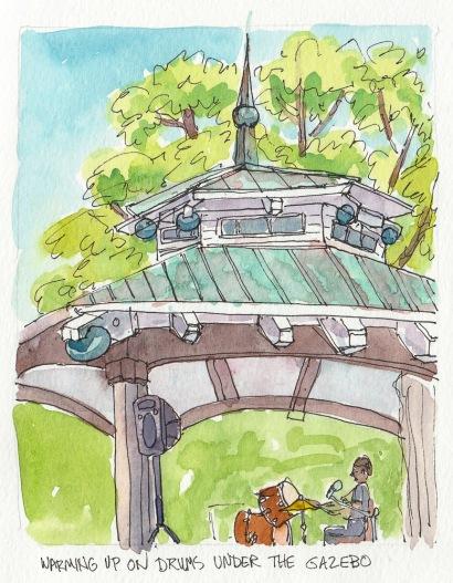 "Gazebo in Healdsburg Town Square, ink & watercolor, 5.5"" x 6.5"""
