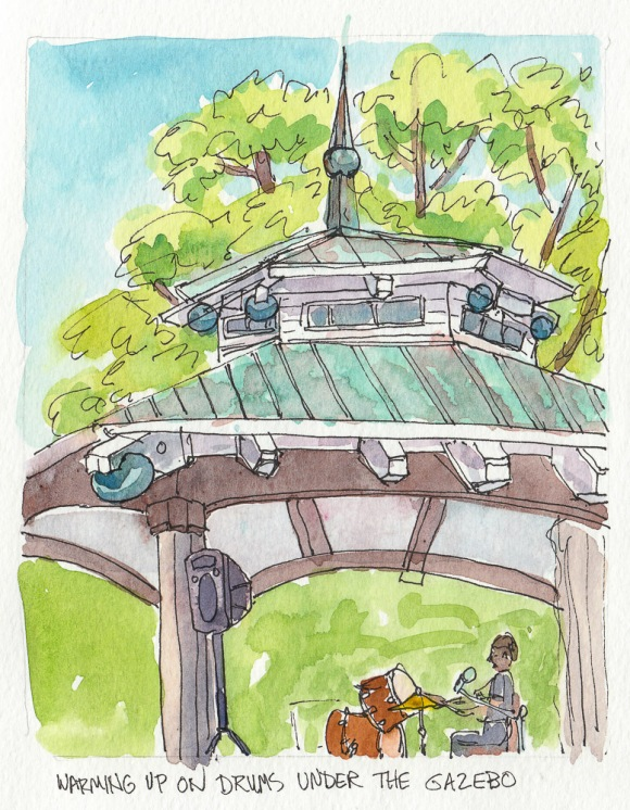 "Gazebo in Healdsburg Town Square, ink & watercolor, 5.5"" x 6.5"""