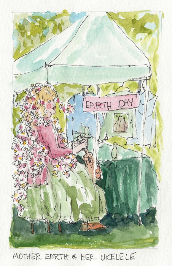 Mother Earth on Earth Day in Healdsburg, ink & watercolor, 6.5x4""