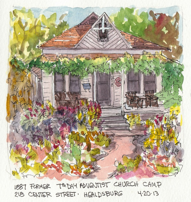 """Healdsburg Home, Formerly a 7th Day Adventist Church Camp, ink & watercolor5.5""""x6"""""""