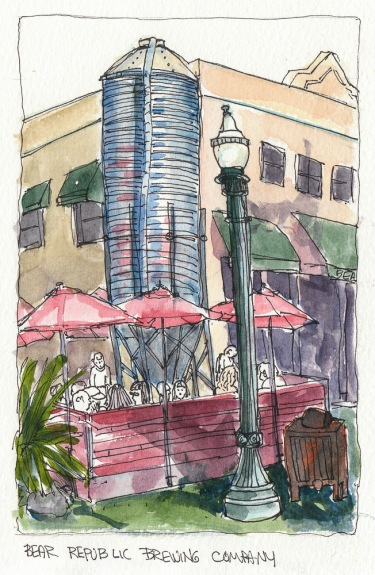 Bear Republic Brewing Company, Healdsburg, ink & watercolor, 7x4.5""