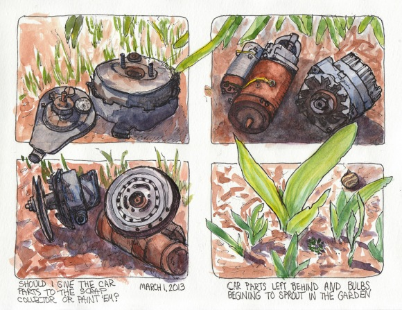 Old Car Parts in the Spring Garden, ink & watercolor 8x11""