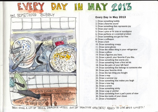 Bubbles: Dirty Dishes, Every Day in May, ink & watercolor in 8x11Moleskine