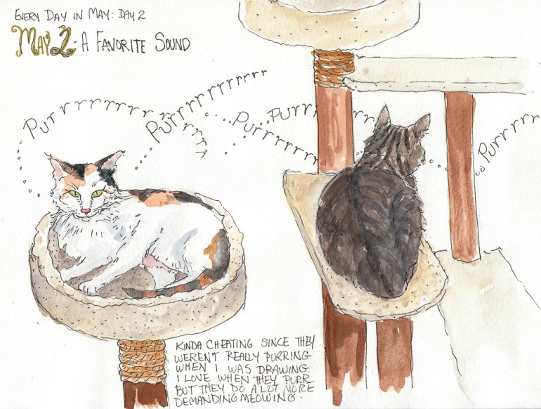 Draw A Favorite Sound: Purrrr. Every Day in May, ink & watercolor, 8 x11""