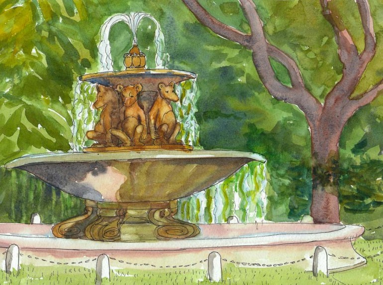 Teddy Bear Fountain, Berkeley, ink & watercolor, 8x11""