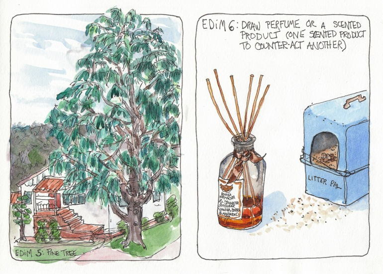 Draw a Pine Tree  and a Scented Product (perfume and cat litter)