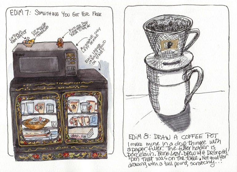 EDiM 7-8: Something(s) You Got For Free and Draw a Coffee Pot, ink & watercolor, 8x11""
