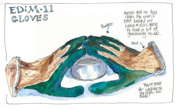 """EDIM 11-Gardening Gloves, ink & watercolor sketch, 8x10"""""""