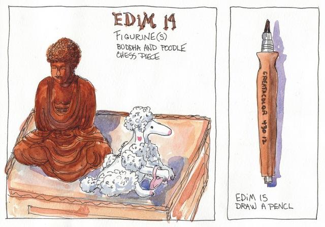 "EDiM 14-15: Draw a Figurine, Draw a Pencil. Ink & watercolor, 8x10"""