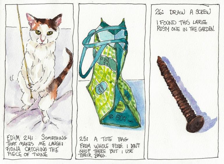 """EDiM 24-25-26, Laugh (Fiona), Tote, Screw,  ink & watercolor, 8x10"""""""