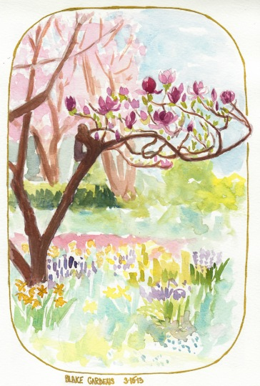 Spring at Blake Gardens, watercolor, 10x8""
