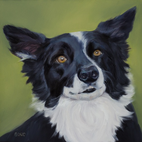 Sam, A Dog Portrait in Oils, Oil on Panel, 8x8""
