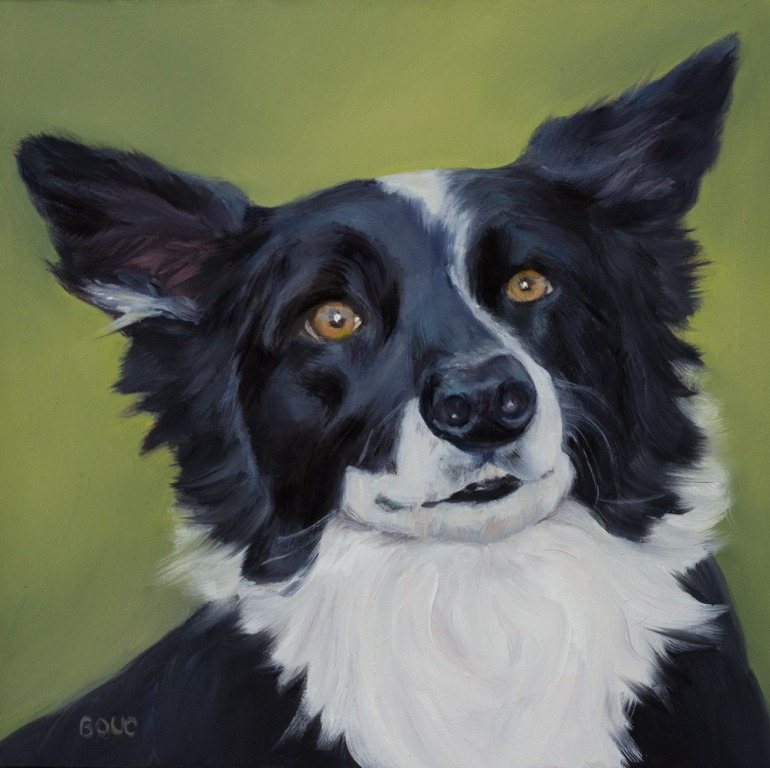 """Sam, A Dog Portrait in Oils, Oil on Panel, 8x8"""""""