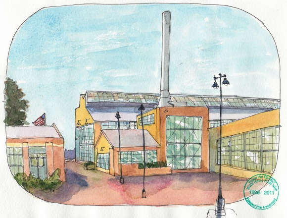 """Craneway Pavillion and Rosie the Riveter Museum, ink  & watercolor, 8x10"""""""